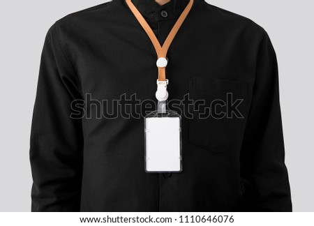 employee with blank id card badge holder for mockup template logo branding background.