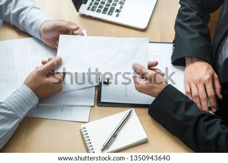 Employer boss sending a remuneration letter to businessman in order to dismiss contract, changing and resigning from work concept. Сток-фото ©