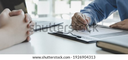 Employer or selection committee is reading the candidate's resume and competence background, Job interview by HR, History exam and work ability, Employment and Recruitment Concept. Stock foto ©