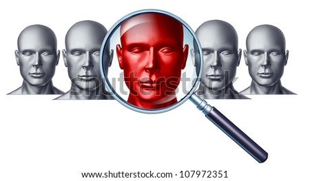 Employment and career concept with human head icons and a red businessman character in a magnifying glass as a symbol of recruitment and occupation discovery.