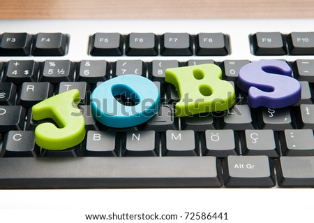 Employment concept with words on keyboard
