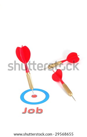 employment or unemployment concept with dart arrow