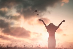 Empowerment wise woman with hands rise up on beautiful view. Christian praise on hill thanksgiving day background. support nature standing open arms love sun concept ambitious fun wisdom women day