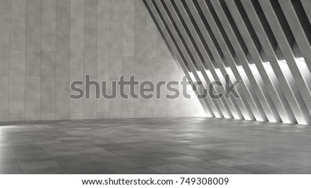 Empty abstract modern concrete interior. 3D illustration. 3D rendering.