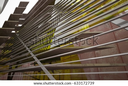 Empty abstract room interior of sheets rusted metal and brown concrete with green glass. Architectural background. 3D illustration and rendering #633172739