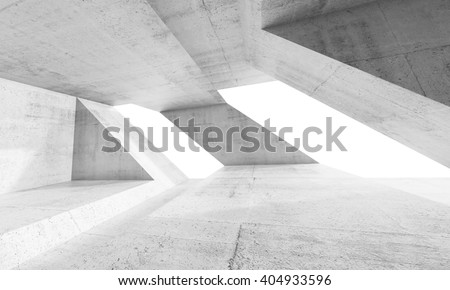 Empty abstract white concrete interior design with windows and chaotic columns structures. Modern architecture background, 3d render illustration