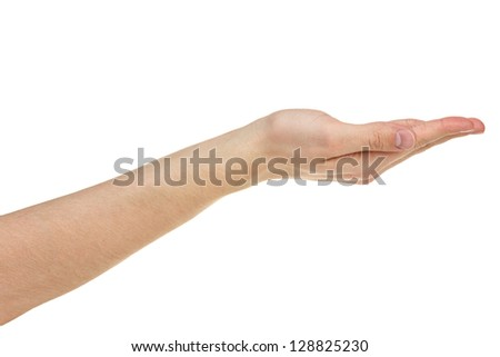 empty adult man hand,  isolated on white