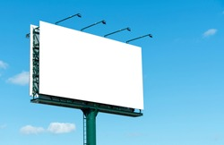 empty advertising billboard on the highway, with blue sky - advertising concept - copy space - mockup