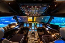 Empty Aeroplane Cockpit Interior Night