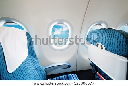 Empty aircraft seats and windows
