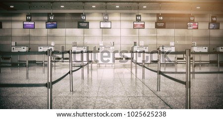 Empty airplane counter at airport