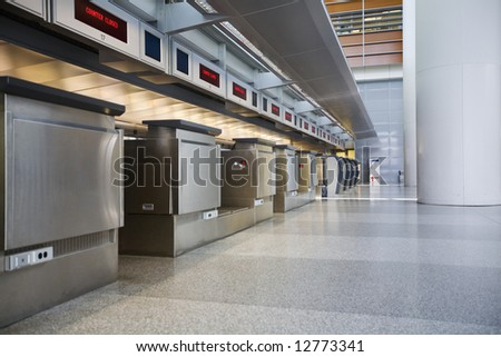 Empty airport check-in