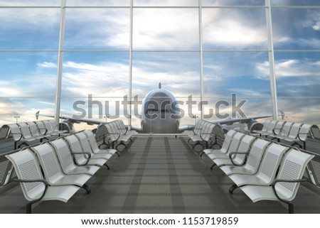 Empty airport departure lounge with airplane on background. 3d illustration