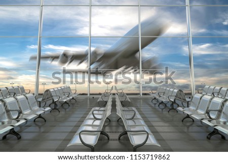 Empty airport departure lounge with airplane on background. 3d illustration  #1153719862