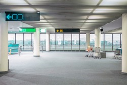 empty airport terminal plane , Airplane cabin Open and without people