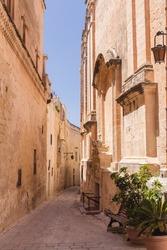 Empty alley in Mdina, Malta.
