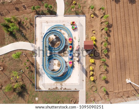 Empty amusement park, China, Zhangjiakou, carousle, rides, blue sky, aerial view
