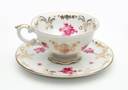 Empty Antique porcelain tea cup isolated on white background