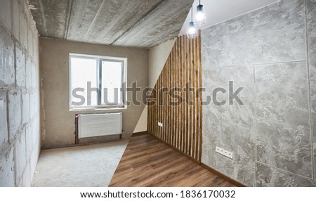 Empty apartment with modern plastic window and heating radiators before and after renovation. Comparison of old room and new renovated place with parquet and chandeliers. Concept of home restoration.