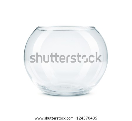 Empty aquarium, fish bowl isolated on white background with copy space