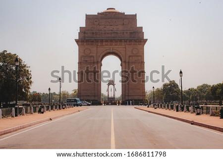 Empty area due to quarantine lockdown in front of India Gate in New Delhi