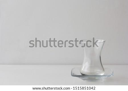 Empty Armudu tea glass on white background Photo stock ©
