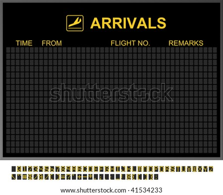 Empty arrivals board and characters to fill in