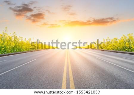 Empty asphalt road and blooming rape flowers in farmland field. #1555421039