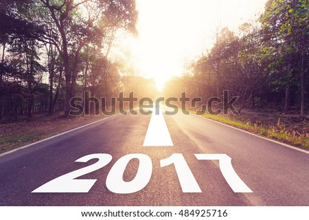 Empty asphalt road and New year 2017 concept. #484925716
