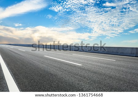 Empty asphalt road ground and blue sky with white clouds scene #1361754668