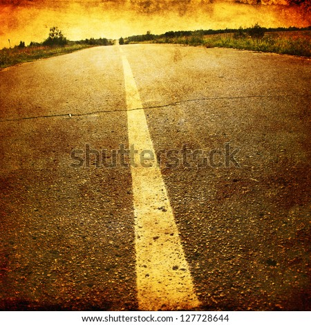 Empty asphalt road in grunge and retro style.