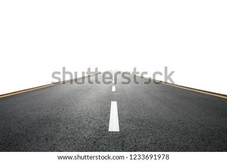 Empty asphalt road isolated on white background