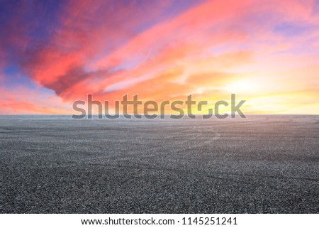 Empty asphalt square landscape at sunrise #1145251241