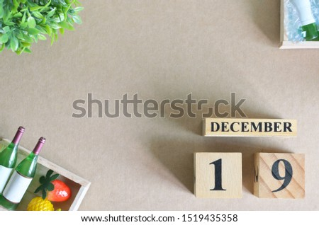 Empty Background, Design with number cube strawberry pine apple and wine in natural concept, December 19.