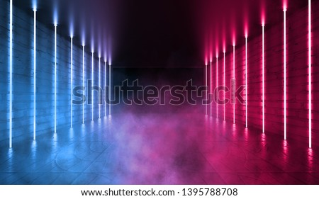 Empty background scene. Dark room, neon blue and pink figures in the dark, smoke. Abstract dark background.