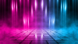 Empty background scene. Dark street, a reflection of blue and pink neon light on wet pavement. Rays of light in the dark, smoke. Night view of the street, the city. Abstract dark background.