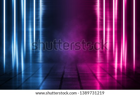 Empty background scene. Dark street, reflection of blue and pink neon light on wet pavement. Neon shapes. Rays of light in the dark, smoke. Abstract dark background.