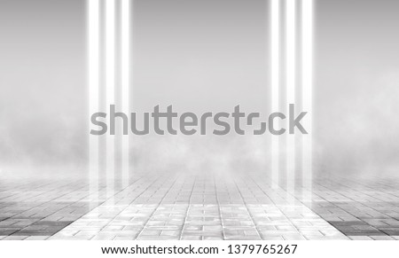 Empty background scene. Empty street background with concrete floor, neon lights and smoke. Gray abstract empty background