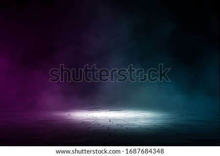 Empty background scene. Texture dark concentrate floor with mist or fog.