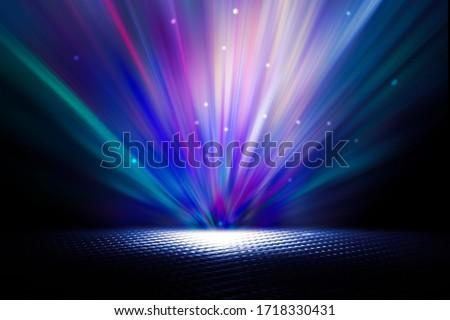 Empty background scene. Texture dark concentrate floor with mist or fog. Spectrum light color.
