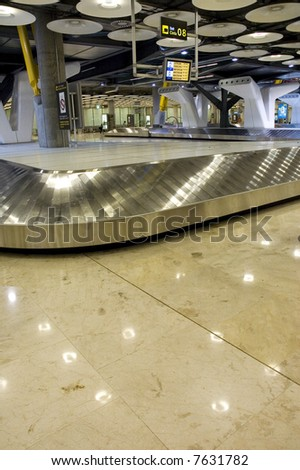 Empty baggage claim in a modern airport