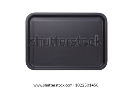 Empty baking tray for pizza close up isolated. Top view horizontally. Mock up for design Foto stock ©