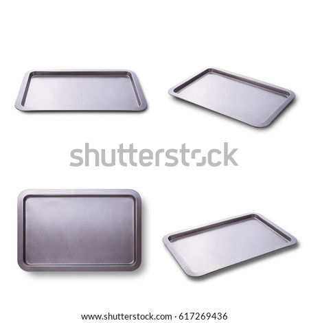 Empty baking tray isolated close up top view square. Set Foto d'archivio ©