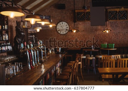 Empty bar counter at pub