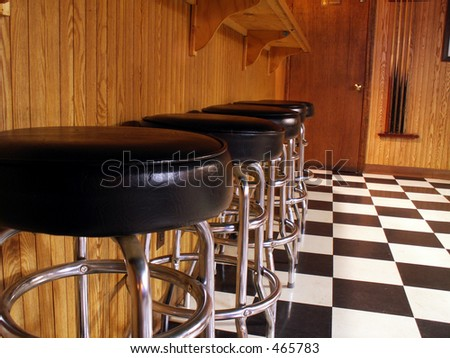 empty bar stools lined up in bar