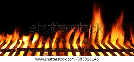 Empty Barbecue Flaming Charcoal Grill With Bright Flames Of Fire Isolated On The Black Background, Close Up, Copy Space, Front View. #383816146
