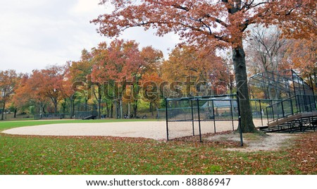 Empty baseball pitch in Central Park, New York