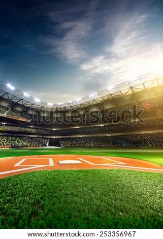 Empty baseball stadium 3 dimensional render vertical