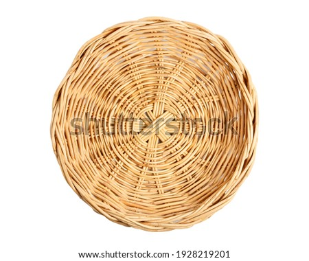 Empty Basket, Wicker baskets, Bamboo basket on white background. Top view.