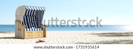 Empty beach chair on the beach of the Baltic Sea or North Sea in Germany as a summer vacation concept (3D Rendering) Stock photo ©
